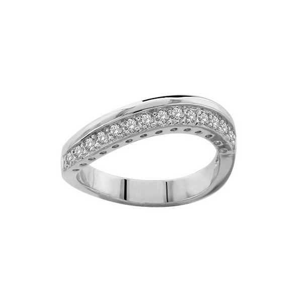 BAGUE ARGENT RHODIE STYLE ALLIANCE PIERRES BLANCHES SYNTH  065294