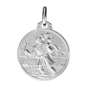 Médaille Saint Christophe en argent ronde