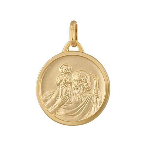 Médaille Saint Christophe en plaqué or ronde