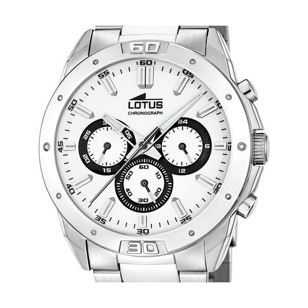 Montre Lotus en acier fond blanc chrono