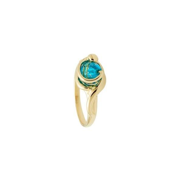 Bague  Jourdan Plaqué Or & perle de murano bleu/verte