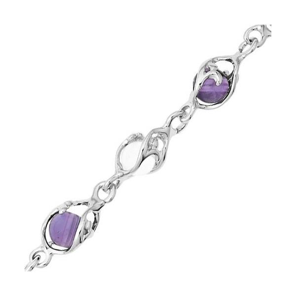 Bracelet  Jourdan Argent avec boule cristal et améthyste