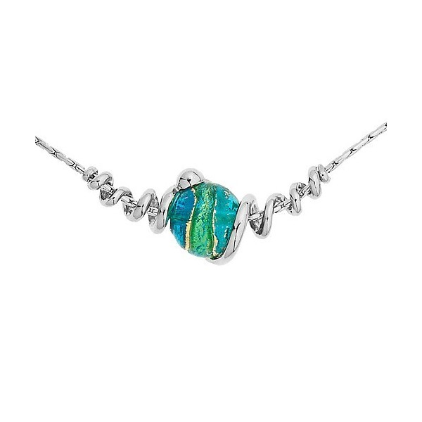 Collier jourdan en argent avec perle de Murano bleue