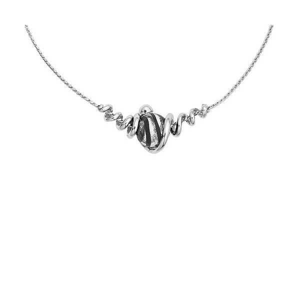 Collier jourdan en argent avec perle de Murano noire