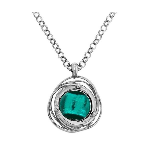 Collier jourdan en argent avec perle de Murano verte