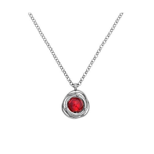 Collier jourdan en argent avec perle de Murano rouge