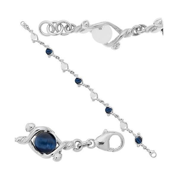 Bracelet  Jourdan argent avec boules en verre blanches et marine