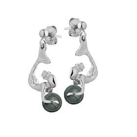Boucles d'oreilles Jourdan en argent sirene et boule hématite