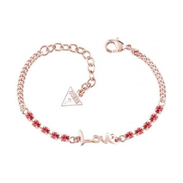 Bracelet GUESS love doré rose rhodié avec cristaux rose indien