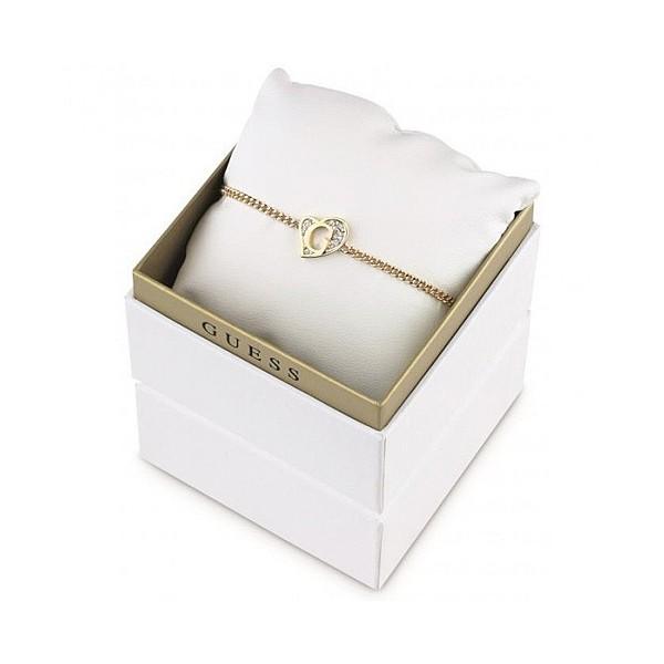 Coffret bracelet Guess doré coeur mini G avec cristaux blancs