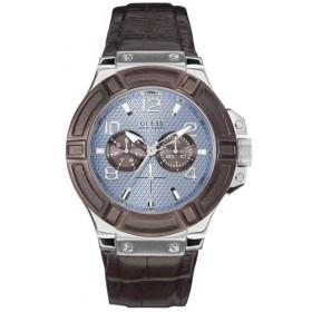 Montre Guess bracelet cuir marron pour homme W0040G10