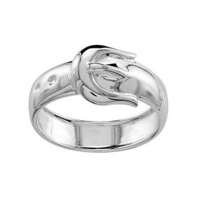 BAGUE ARGENT RHODIE CROISEE PIERRES BLANCHES SYNTH 065766