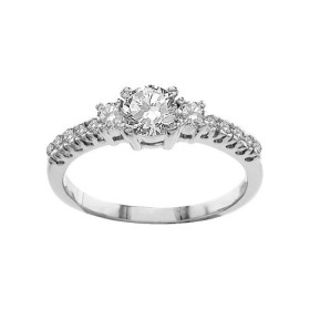 BAGUE ARGENT RHODIE SOLITAIRE PIERRES BLANCHES SYNTH, bague femme, 065770