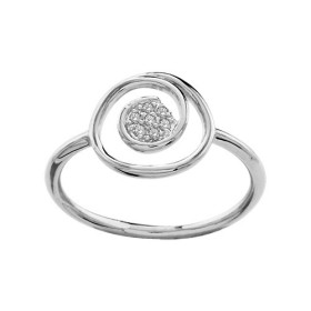 BAGUE ARGENT RHODIE SPIRALE PIERRES BLANCHES SYNTH, bague femme, 065772
