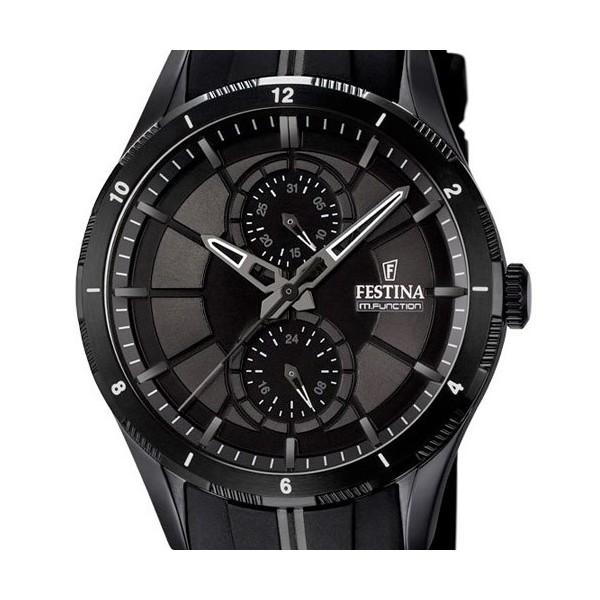 Montre Festina ronde acier noire bracelet silicone -  F16843-1