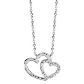 Collier en argent double coeur & oxydes blancs