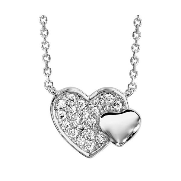 Collier en argent rhodié double coeur pavé oxydes blancs et lisse