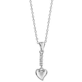 Collier argent pendentif barrette oxydes blancs et coeur