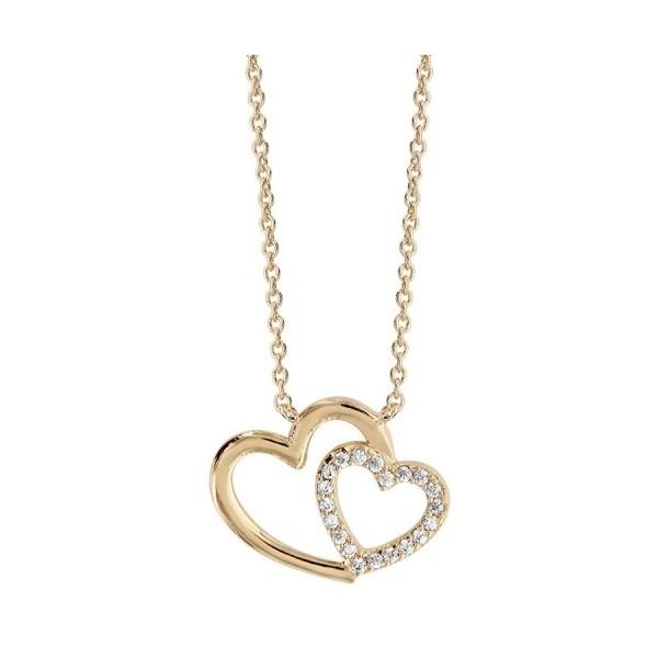 Collier double coeur en argent avec oxydes blancs