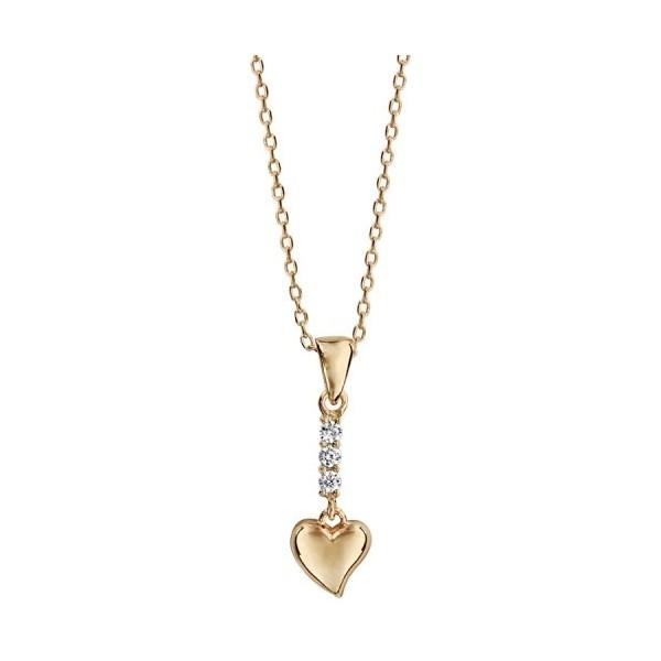 Collier plaqué or pendentif barrette oxydes blancs et coeur