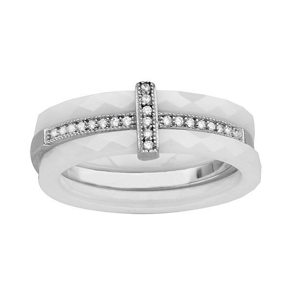 Bague céramique blanche avec trois anneaux dont en argent avec oxydes blancs