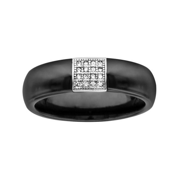Bague céramique noire lisse, Carré Argent et Oxydes de Zirconium