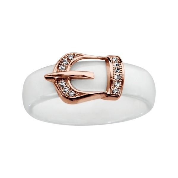 Bague céramique blanche boucle de ceinture plaqué or rose et oxydes blancs