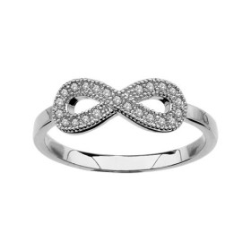 BAGUE ARGENT RHODIE FORME HUIT (INFINI) PIERRES SYNTH BLANCHES, bague femme, 065795