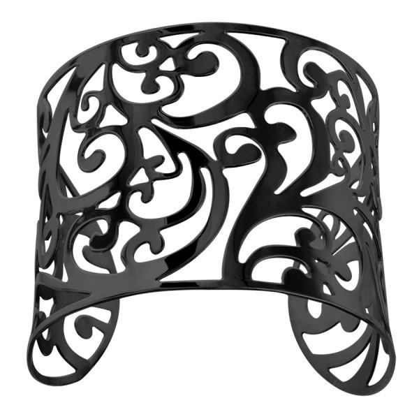 Bracelet acier manchette noir - Arabesque