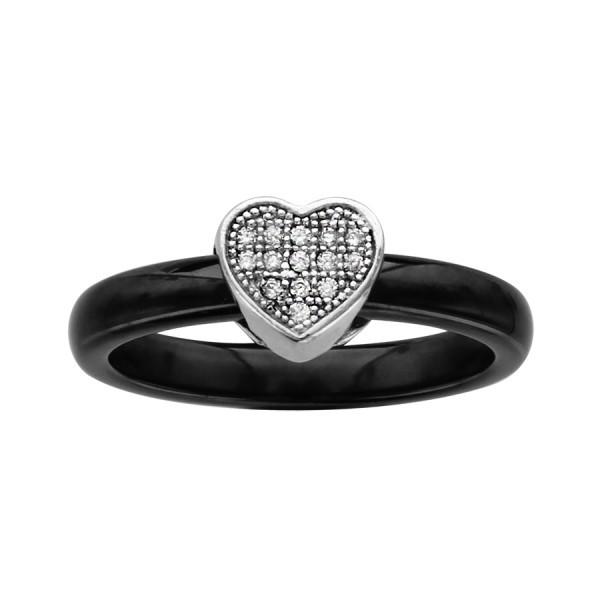 Bague céramique noire avec un coeur en argent et oxydes blancs