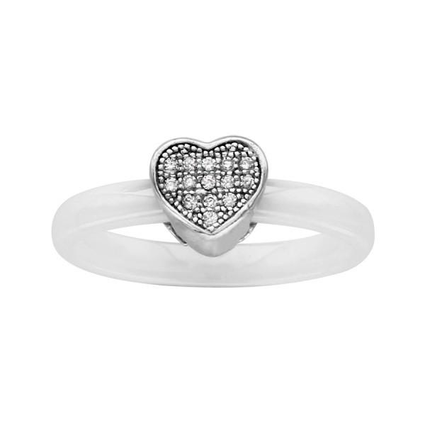 Bague céramique blanche avec un coeur en argent et oxydes blancs