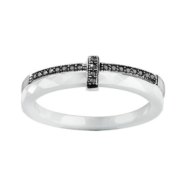 Bague céramique deux anneaux un en céramique & un en argent, pierres de synthèses noires