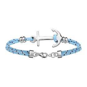 Bracelet corde bleue ciel & ancre marine en argent