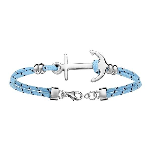 Bracelet corde blanche & ancre marine en argent