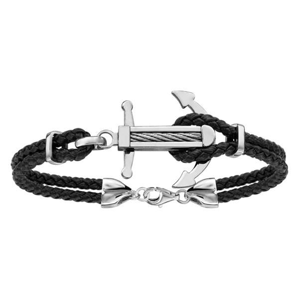 Bracelet acier cuir noir & ancre marine en acier avec câble