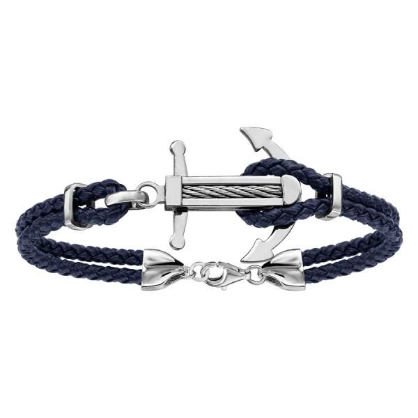 Bracelet acier cuir bleu & ancre marine en acier avec câble