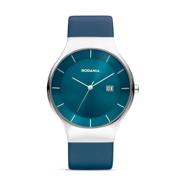 Montre Rodania acier fond bleu cuir bleu pour homme.