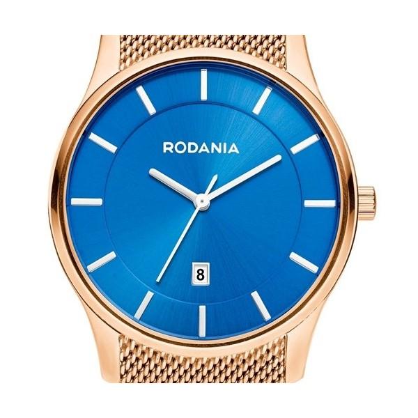 Montre Rodania en acier noir bracelet milanais noir