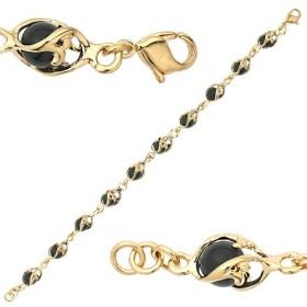 Bracelet Jourdan plaqué or boules onyx pour femme