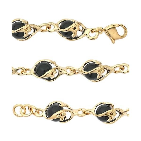 Bracelet  Jourdan plaqué or boules cristal/onyx pour femme