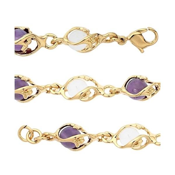 Bracelet  Jourdan plaqué or boules cristal et améthyste pour femme