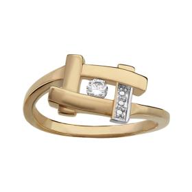 Bague plaqué or motif carré avec un oxyde blanc