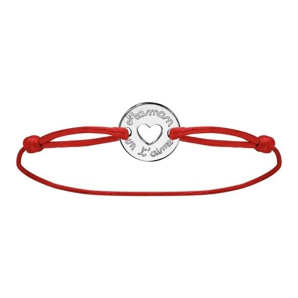 Bracelet maman on t'aime en argent cordon rouge