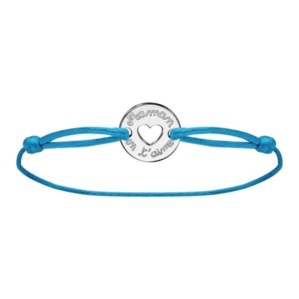 Bracelet maman on t'aime en argent cordon bleu