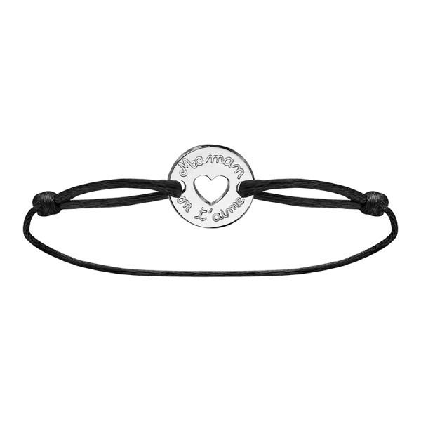 Bracelet maman on t'aime en argent cordon noir