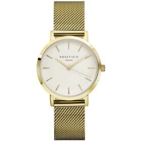 Montre Rosefield bracelet milanais doré fond blanc pour femme