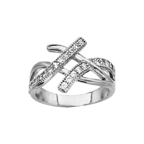 BAGUE ARGENT RHODIE CROISEE OXYDES BLANCS SYNTH, bague femme, 066182