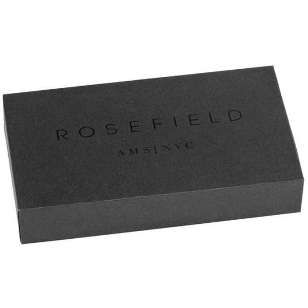 Montre Rosefield cuir noir  boitier argenté fond blanc pour femme