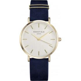 Montre Rosefield bracelet nubuck bleu deux anneaux doré fond nacre