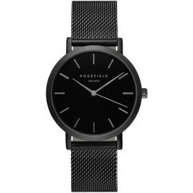 Montre Rosefield bracelet milanais noir fond noir pour femme